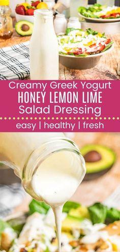 Greek Yogurt Salad Dressing, Lime Salad Dressing, Salad Dressing Recipes, Fat Free Salad Dressing Recipe, Salad Recipes, Sweet Salad Dressings, Yogurt Salad Dressings, Healthy Eating Recipes, Lime Recipes Healthy