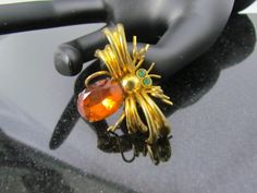 Vintage CZECHO Signed Glass Gold Plate Orange & Green Rhinestone Spider Bug Critter Brooch Pin by BergenPickersUSA on Etsy