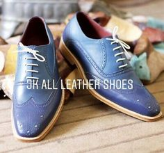 New Pure Handmade Blue & Sky Blue Leather Lace up Brogue Shoes for Men's Leather And Lace, Leather Shoes, Blue Brogues, Custom Design Shoes, Time 7, Long Toes, Designer Shoes, Oxford Shoes, Dress Shoes
