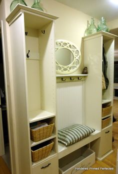 Entryway storage and organization system storage - mudroom makeover  (made from 2 bookcases and added shelf and bench)  Great idea!