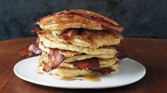 These bacon pancakes satisfy both the sweet and savory senses. Surprise your family with this breakfast dish one weekend morning.