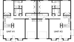 Main Floor Plan 2 for D-583 One story duplex house plans, 2 bedroom duplex plans, duplex plans with garage, D-583b
