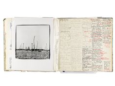 photo on the left; columns of cramped writing on the entire right side. Derek Jarman's Sketchbooks