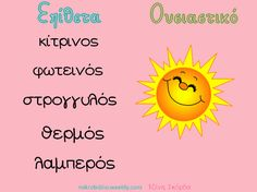Ουσιαστικά κι επίθετα. mikrobiblio.weebly.com Learn Greek, Greek Language, Speech Therapy, Special Education, Grammar, Teacher, Activities, Writing, Learning
