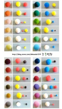 Color blending chart for Polymer clay (Great for those who like to buy primary colors and mix your own colors) I love mixing my own colors but replicating them is sometimes hard >.<
