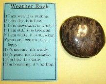 SWAP: Weather Rock  (topsinswaps.com) If I am wet - it is raining. If I am dry - it is fine. If I am moving - it is windy. If I am stiff - it is freezing. If I am white - it is snowing. If you can't see me - it is foggy. If I am gone - there is a tornado. If I am hot - it is sunny. If I am bouncing - it is hailing.