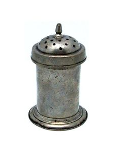 """A delightful example of a rare mid-18th century shaker for pounce or wig powder.  The screw-on lid has three concentric rows of 2mm diameter holes.  In excellent condition, with medium-grey original surface patina.  4"""" high, with 2"""" base diameter."""