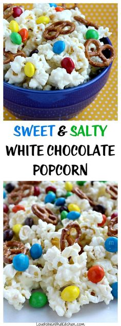Sweet and Salty White Chocolate Popcorn- Kettle corn popcorn covered in tasty white chocolate with mini pretzels and Peanut Butter M&M's added for a delicious sweet and salty snack! Perfect for movie nights, game days, a snack or dessert! Simple to make and so delicious.