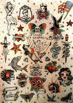 """""""Tattoo flash II"""" Lápices de color y tinta sobre papel. 29'7cmx21cm."""
