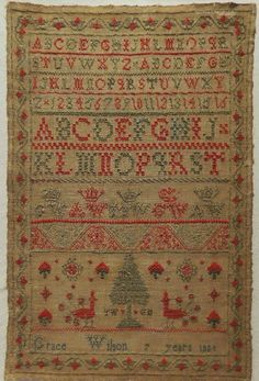 EARLY 19TH CENTURY ALPHABET SAMPLER BY GRACE WILSON AGED 7 - 1824 | eBay