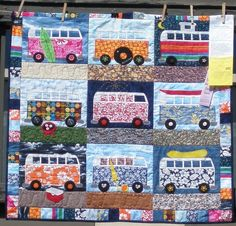This VB bus sure fits the whimsical category! I love the attention to detail, like the tiny barbecue and the ice chest! Sewing Crafts, Sewing Projects, Projects To Try, Sewing Ideas, Combi Hippie, Vw Vintage, Custom Quilts, Applique Quilts, Learn To Sew