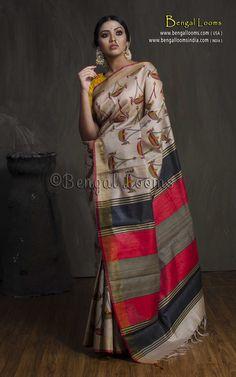 Pure Handloom Tussar Saree with Hand Blocked Kalamkari Print in Beige, Red and Black Kalamkari Saree, Ikkat Saree, Black Saree, Black Blouse, Printed Sarees, Saree Styles, Cotton Saree, Indian Sarees, Sarees Online