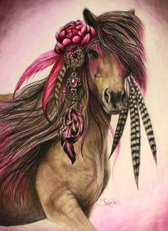 Horse Drawing - Magenta Warrior  by Sheena Pike