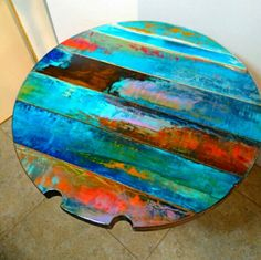 colorfully painted table or reclaimed wood wall art whimsical round table top bistro table painted furniture rustic Boho trashstudio Reclaimed Doors, Reclaimed Wood Wall Art, Wood Art, Barn Wood, Salvaged Wood, Door Wood, Painted Furniture, Diy Furniture, Furniture Design