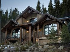 Craftsman Lodge: Surrounded by mountains and pine trees, HGTV Dream Home, Colorado, is the ultimate vacation home. A rustic lodge theme brings the wilderness right indoors. Metal railing and joints give a modern touch to the cabin style. From HGTVRemodels.com