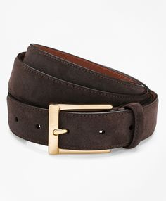 """Genuine suede. Gold-toned brass buckle is slightly curved. Leather lining. 1¼"""" width. Made in Italy."""
