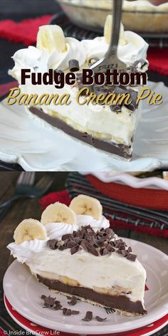 Fudge Bottom Banana Cream Pie - Layers of fudge, fresh bananas, and banana pudding make this the best dessert. Fudge Bottom Banana Cream Pie - Layers of fudge, fresh bananas, and banana pudding make this the best dessert. Banana Pudding Cheesecake, Cheesecake Recipes, Cookie Recipes, Pudding Cake, Cheesecake Bars, Fudge Pie, The Best Dessert Recipes, Magnolia Banana Pudding Recipe, Cashew Cheesecake
