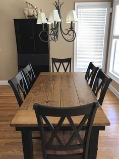 New Farmhouse dining room table and chairs. DIY farmhouse table and gray armchair with nail head details. A beautiful Neutral Modern Farmhouse Dining Room Read Farmhouse Dining Room Table, Dining Room Table Decor, Dining Room Design, Dining Furniture, Dining Rooms, Dining Room Ideas On A Budget, Diy Table, Furniture Ideas, Kitchen Dining