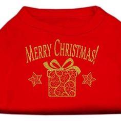Golden Christmas Present Dog Shirt Red Med (12)