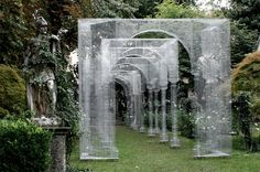 Milanese artist Edoardo Tresoldi installed a wire mesh archway in the vineyard of Leonardo Da Vinci, Milan, Italy Stage Design, Theatre Design, Conceptual Art, Light Art, Installation Art, Art Installations, Public Art, Landscape Architecture, Garden Art