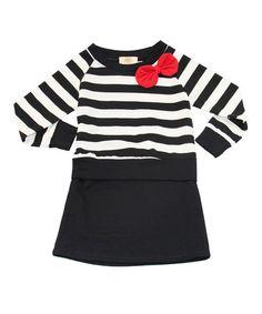 Love this Black & White Stripe Dress - Girls on #zulily! #zulilyfinds