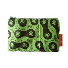 African print pouch Green Black Cosmetic Purse by DetolaAndGeek