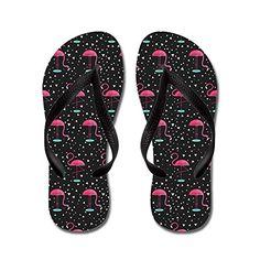 CafePress - Pink On Black Flamingos - Flip Flops, Funny T...