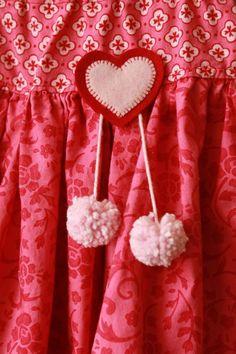 Pom pom and hearts #felt #kids #craft