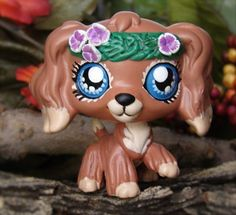 Cocker Spaniel Spring Beauty Flower crown OOAK Custom figure Littlest Pet Shop #Hasbro