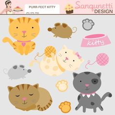 Do you love kitty cats? These little ones are purr-fect! In this set you will get 11 graphics     Formats: EPS, JPG, PNG