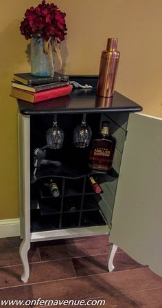 Music cabinet turned wine cabinet