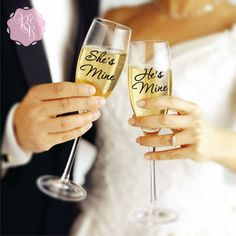 Check out this item in my Etsy shop https://www.etsy.com/uk/listing/269998127/wedding-champagne-flute-decals-shes-mine