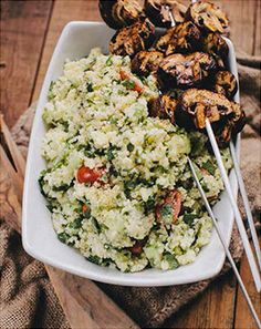 grilled mushroom kabobs & couscous salad--double the veggies in the salad.