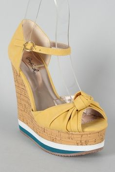 Yellow Knotted Peep Toe Wedge.