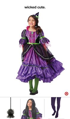 She'll have the whole neighborhood under her spell with a Girl's Deluxe Premium… Classic Halloween Costumes, Halloween Costumes For Girls, Black Wig, Long Black, Little Princess, Disney Princess, Striped Tights, Fancy Dress, Wigs