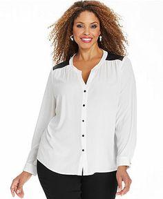 6119499fdf7b3 Elementz Plus Size Long-Sleeve Faux-Leather-Trim Blouse Plus Sizes - Tops -  Macy s