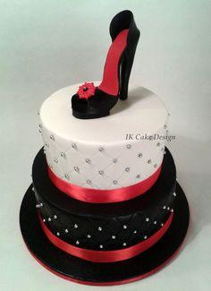 Black White And Red Birthday Cake For A Phantom Of The Opera Theme - 35th birthday cake ideas