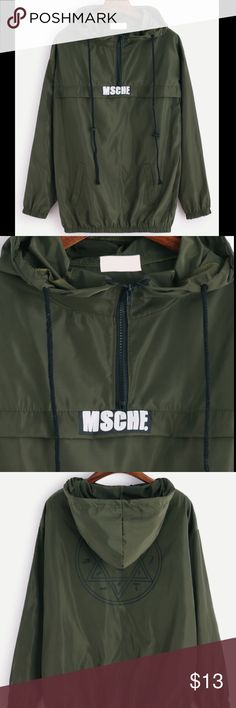 Green Hooded Windbreaker/Sweatshirt OPEN TO OFFERS -- OneSize (Fits like an XS/small) -- bought it thinking there was pockets but it's just stitched together -- DO NOT WEAR IN RAIN (too thin and you'll get soaked.) -- cute to wear on a cool day! ROMWE Jackets & Coats