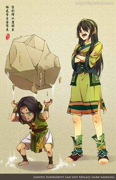 Yeah I imagine Toph wasn't a super loving mother, at least when it came to training her daughter to earth bend. Which is why her daughter is good at it.