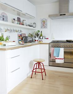 Scandinavian style kitchen with colorful details