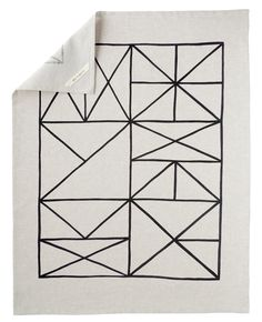 Grid Tea Towel - hand printed linen dish towel from Cotton & Flax