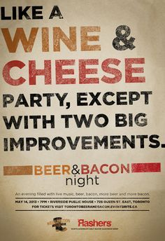 Beer Bacon, Cheese Steak, Bacon N Beer, Bacon Night, Blueberry Cheese Cakes, Wine Cheese, Cheese Party, Grilled Cheeses, Beef Bacon