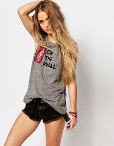 Vans Muscle Tank Vest Top With Off The Wall Logo