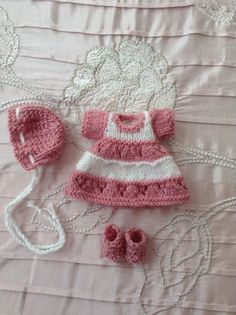 """Hand knitted dolls clothes to fit a 6"""" Ooak doll"""