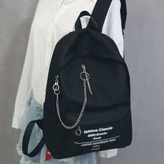 Little Days Chain Detail Lettering Canvas Backpack Punk Fashion, Grunge Fashion, Fashion Bags, Korean Fashion, Fashion Outfits, Stylish Backpacks, Cute Backpacks, Bags For Teens, Girls Bags