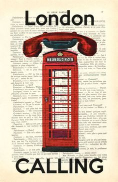 Illustrations, La Cabine téléphonique rouge, Londres, Angleterre est une création orginale de MadameMemento sur DaWanda