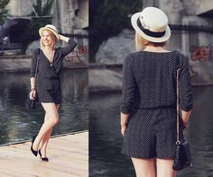 Get this look: http://lb.nu/look/7660440  More looks by Anca V.: http://lb.nu/thecasualcat  Items in this look:  Claire's Straw Boater Hat, H&M Romper, H&M Black Pumps   #bohemian #chic #elegant #romper #strawboaterhat #blackandwhite #summer