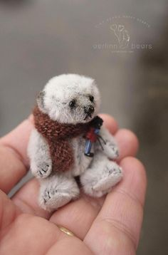 Reserved for Julie,  Miniature bear Munchkin is fully jointed, hand sewn in silver/grey sassy mini bear fabric with ultra suede pads. Standing