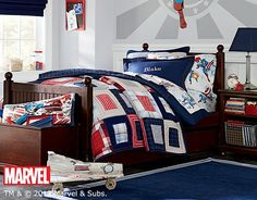captain america bedroom decorations including bed sheets and pillows