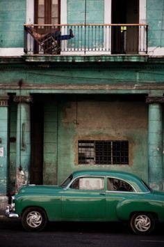 transports : voiture, immeuble, vert, Cuba